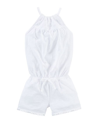 Embroidered Cotton Jersey Playsuit, White, Size 2-6X