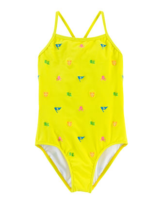 Schiffli-Embroidered One-Piece Swimsuit, Yellow, Size 2-6X