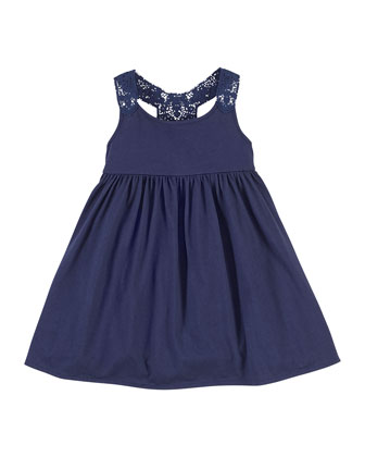 Lace-Trim Jersey Dress, Cruise Navy, Size 2-6X