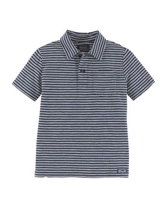 Short-Sleeve Striped Slub Jersey Tee, Navy, Size 2-7