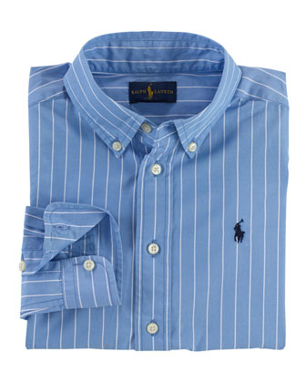 Long-Sleeve Poplin Dress Shirt, Size 2-7