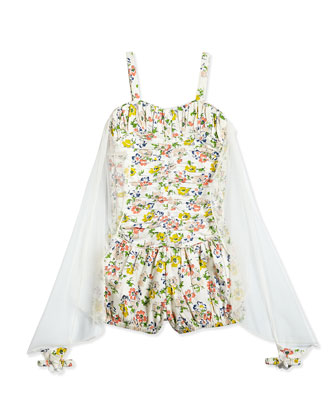 Ruched Floral-Print Playsuit w/ Wings, Multicolor, Girls' Size 2-14