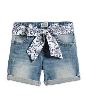 Denim Shorts w/ Floral-Print Belt, Size 2-8