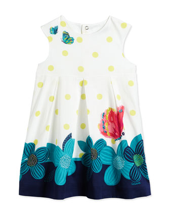 Polka Dot-Print Cotton Dress, White/Multicolor, Size 3-6