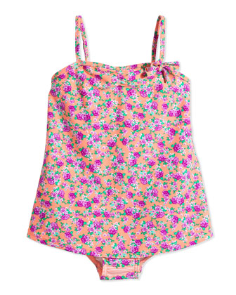 Floral-Print One-Piece Swimsuit, Orange Crush, Girls' 0-7