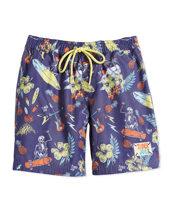 Skeleton Island Rider Board Shorts, Tropical, Boys' 2-12
