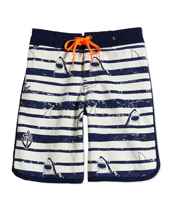 Sergeant Shark Retro Board Shorts, Fuel, Boys' 0-10