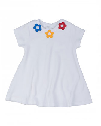 Short-Sleeve Terry Coverup w/ Floral Detail, White, 12-24M