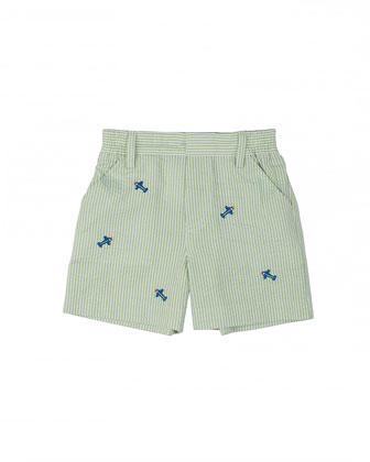 Striped Seersucker Shorts w/ Airplanes, Lime/White, Size 12M-24M