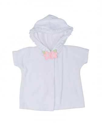 Hooded Short-Sleeve Terry Coverup, White, Size 6M-24M
