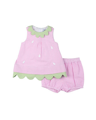 Seersucker Shift Dress, Pink, Size 3M-24M