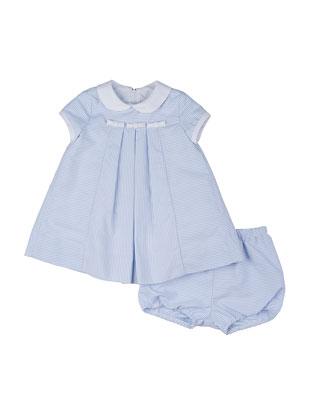 Striped Ottoman Dress & Bloomers, Blue/White