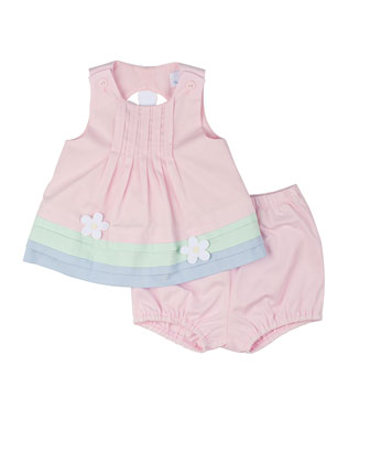 Pique Dress & Bloomers w/ Daisies, Pink