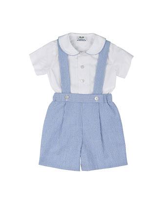 Seersucker Shorts w/ Suspenders & Poplin Shirt, Royal/White