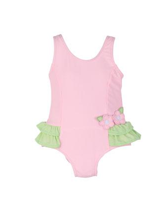 One-Piece Swimsuit w/ Ruffles, Pink/Green, Size 6M-24M