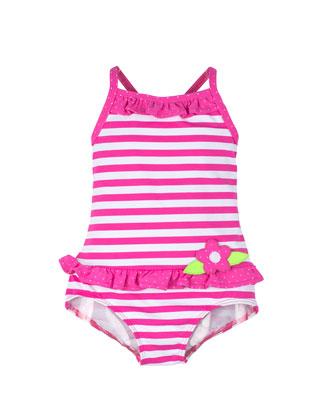 Striped One-Piece Swimsuit, Fuchsia/White, Size 9M-24M