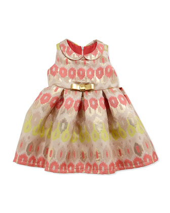 Ikat Brocade Party Dress, Coral, Size 12-24 Months