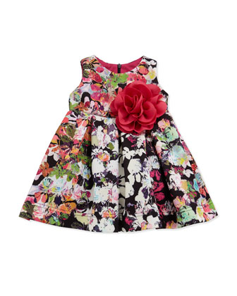 Floral-Print Scuba-Knit Dress, Multicolor, Size 12-24 Months