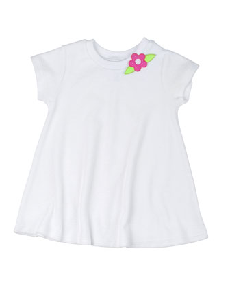 Short-Sleeve Terry Coverup w/ Flower, White, Size 2T-6X
