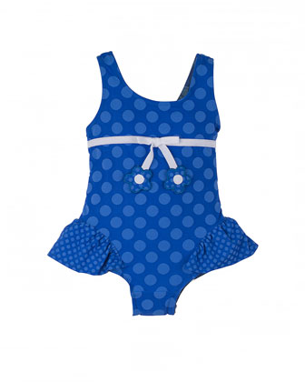 Polka-Dot One-Piece Swimsuit, Royal, Size 2T-6X