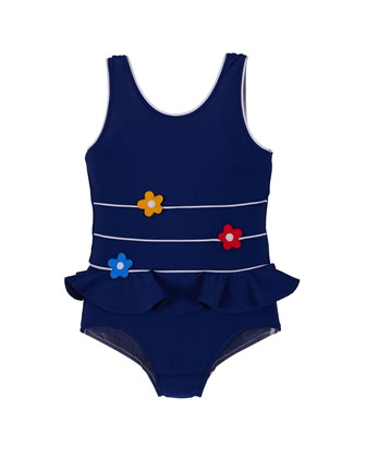 One-Piece Swimsuit w/ Floral Detail, Navy, Size 2T-6X