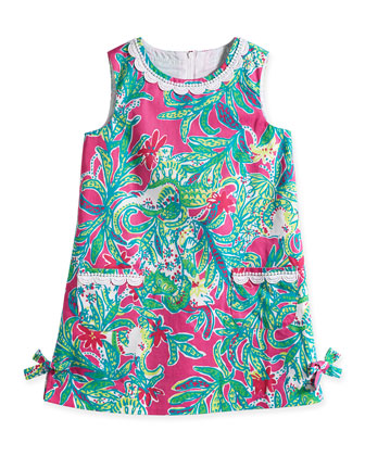 Little Lilly Tropical-Print Classic Shift Dress, Capri Pink, Size 2-10