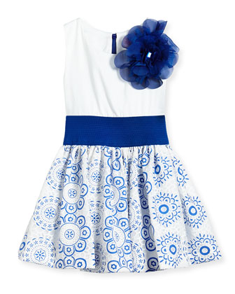 Sleeveless Dress w/ Lace Skirt, White/Blue, Size 2-6X