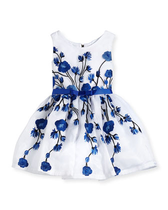 Embroidered Rose Tulle Dress, Royal/White, Size 2-6X