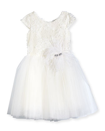 Lace & Tulle A-Line Dress, White, Size 2-6X