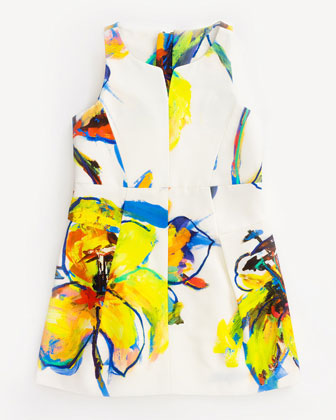 Pop Art-Print Racerback Faille Dress, White, Size 2-7