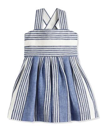 Uneven-Striped Linen/Cotton Sundress, Blue, Size 7-14