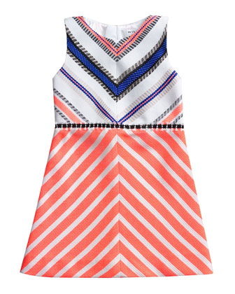 Couture-Stripe Mitered Dress, Fluomelon/Multicolor, Sizes 8-14