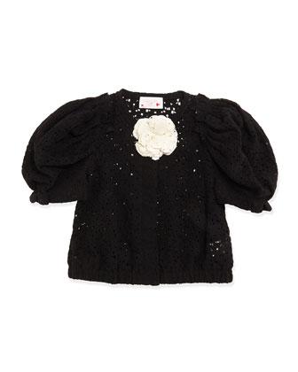 Short-Sleeve Lace Jacket, Black, Girls' Size 4-6