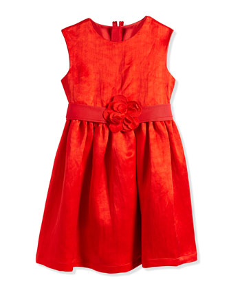 Duchess-Washed Linen Dress, Poppy Red, Sizes 4-6