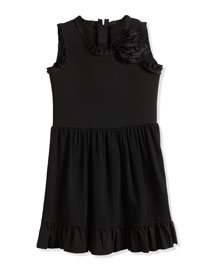 Sleeveless Fit-and-Flare Dress w/ Flower, Black, Size 4-6