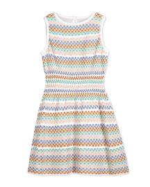 Polka Dot Striped Stretch Dress, White/Multicolor, Size 2T-10