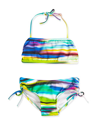 Brushstroke-Print Two-Piece Swimsuit, Multicolor, Size 8-14