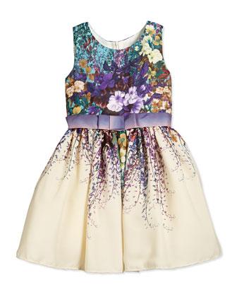Sleeveless Floral-Print Chiffon Dress, Turquoise/Ivory, Size 2-6X