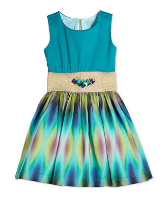 Sleeveless Tie Dyed Party Dress, Aqua, Size 2-6X