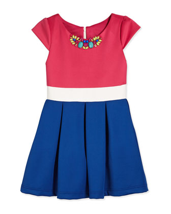 Something About Stripes Tricolor Scuba Dress, Pink/White/Royal, Size 2-6X