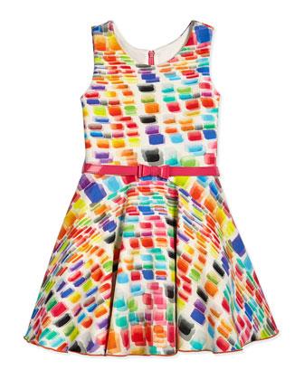 Chiclet Rainbow-Print Scuba Swing Dress, Multi, Size 2-6X