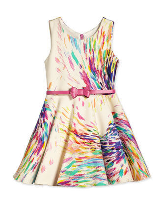 Sleeveless Firework Swing Dress, Cream/Multicolor, Size 7-14