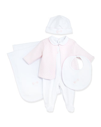 Baby Rattle Footie Pajama & Jacket, White/Pink, NB-6 Months