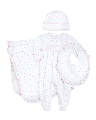 Sweetheart Roses Smocked Footie Pajamas, Pink, Size NB-9 Months