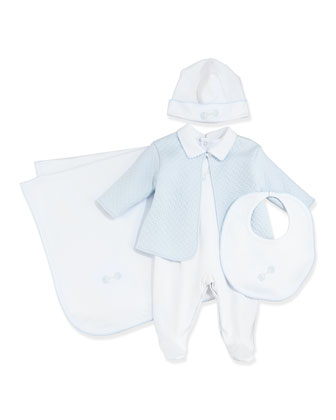 Baby Rattle Hat, White/Blue