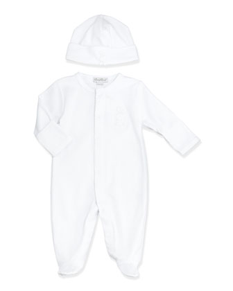 Pique Bunny Baby Hat, White