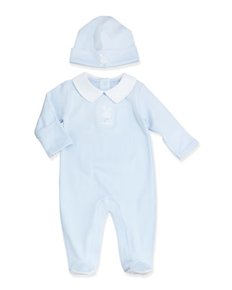 Pique Bunny Baby Hat, Light Blue