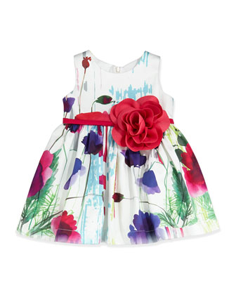 Poppy-Print Party Dress, Multicolor, Size 12-24 Months