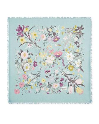 Floral-Print Fringe Shawl, Sky Blue
