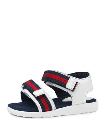 Gauffrette Web-Strap Sandal, Red/White/Blue, Toddler